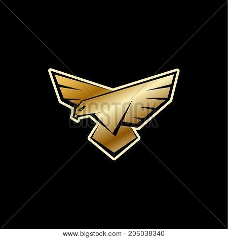 Golden Falcon logo. A bird with large wings is landing. Flat vector logo template with a bird of prey, falcon or eagle.