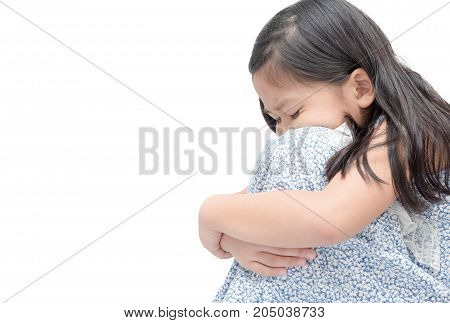 Sad Girl Sitting Isolated On White Background