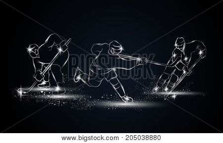 Hockey players set. Metallic linear hockey player illustration for sport banner, background and flyer.