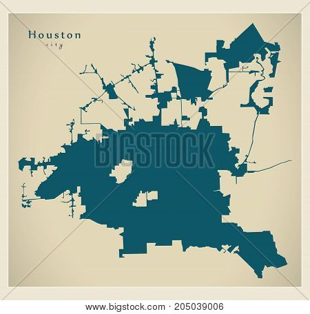 Modern Map - Houston City Of The Usa