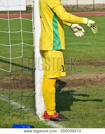 Goalkeeper stands next to the goal post