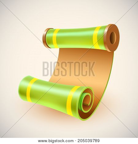 Old golden manuscript. Ancient scroll icon. Vector illustration