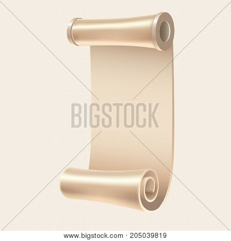Old white manuscript. Ancient empty scroll. Vector illustration