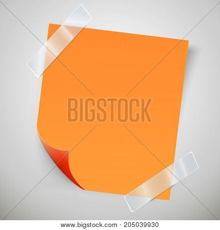 orange sticky note with the curled corner and adhesive tape. Vector illustration