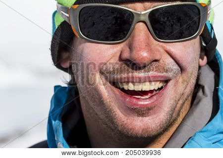 The portrait of a freerider in a sunglasses