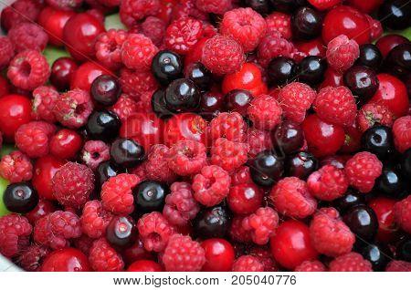 Summer fruit vitamin assorted raspberries cherries currants