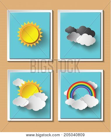 Abstract paper weather with sun and cloud motif