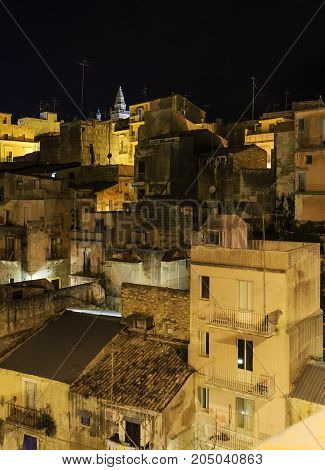 Night Ragusa Town Roofs View, Sicily, Italy