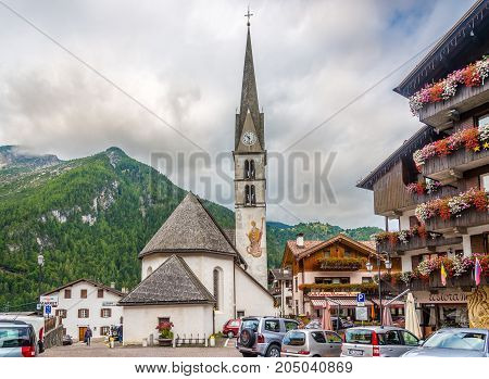 ALLEGHE,ITALY - SEPTEMBER 14,2017 - In the streets of Alleghe in Italy Dolomites. Alleghe is a town in South Tyrol in northern Italy.