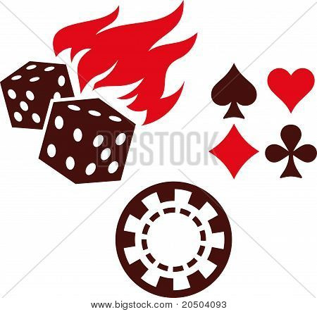 Vector gambling items - dice, playing cards and casino chips