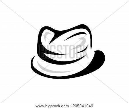 fedora hat illustration, symbol design, isolated on white background.