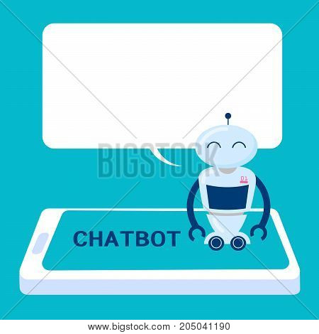 cartoon artificial intelligence with chatbot concept on the blue background