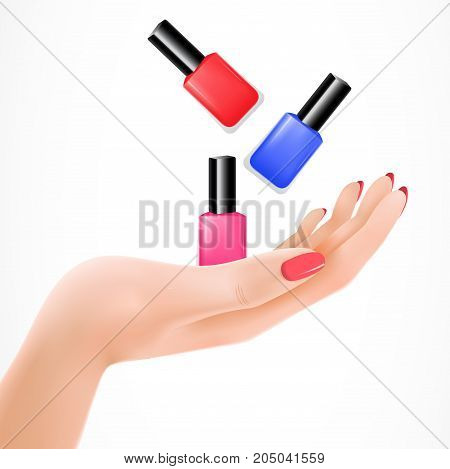 Realistic vector illustration of female hand tossing nail lacquers. Manicure, cosmetics, nail salon. Makeup concept. Can be used for topics like beauty, shopping, service