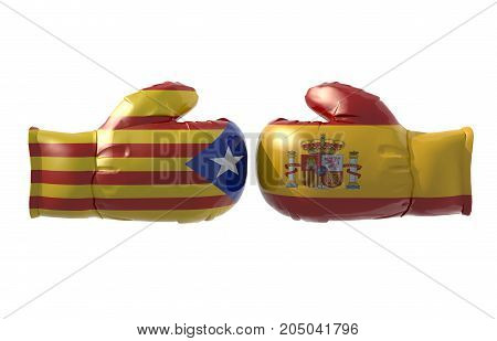 Boxing gloves with Catalonia and Spain flag isolated 3d illustration