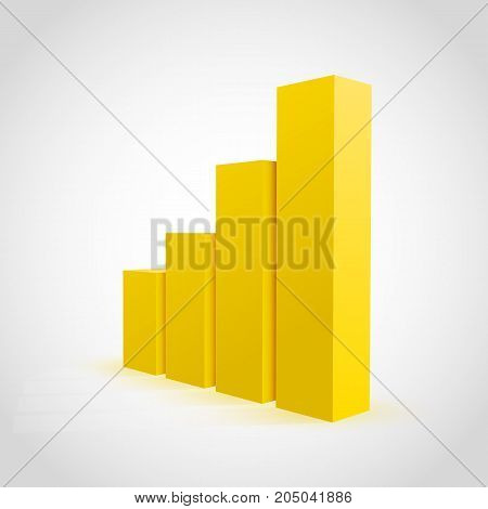 Vector yellow graph chart on white background.