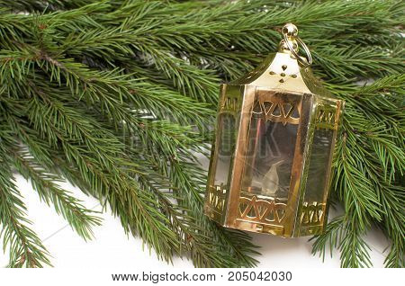 Christmas lantern lamp laying in fir tree branches isolated on white background. Christmas decoration.