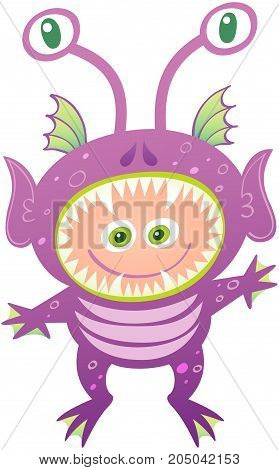 Boy smiling and wearing an alien costume. The costume has purple skin, pointy ears, sharp teeth, head fins, eyed antennae and webbed fingers and toes. The open mouth leaves space for the boy's face