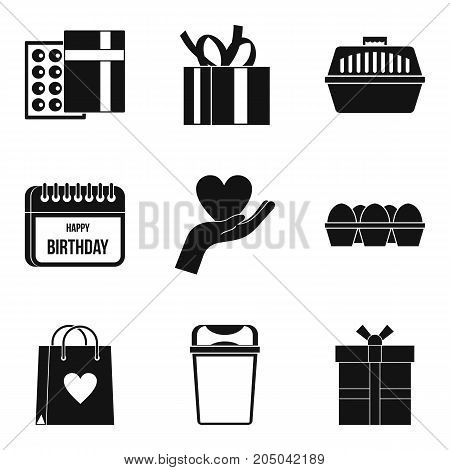 Case icons set. Simple set of 9 case vector icons for web isolated on white background