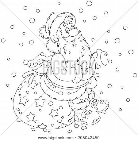 Black and white illustration of Santa Claus sitting on the sackful of Christmas presents