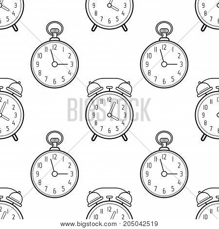 Alarm clock and pocket watch. Black and white seamless pattern for coloring books, pages. Vector illustration.