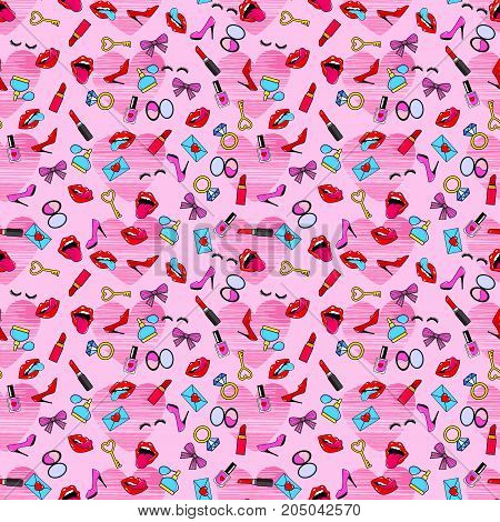 Female pink lips. Mouth with a kiss pomade shoes perfume rings diamonds hearts. Vector pink comic seamless pattern in pop art retro style. Abstract pink seamless pattern for girls boys clothes.