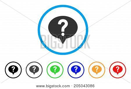 Ask rounded icon. Style is a flat ask grey symbol inside light blue circle with black, gray, green, blue, red, orange variants. Vector designed for web and software interfaces.