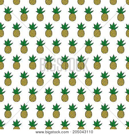 Seamless food pattern with pineapples on black background. Cute food vector background. Bright summer fruits illustration. Fruit food mix design for fabric and decor.Funny wallpaper for textile and fabric.
