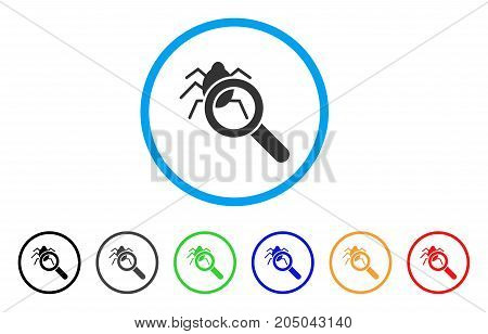 Debugger Explorer rounded icon. Style is a flat debugger explorer gray symbol inside light blue circle with black, gray, green, blue, red, orange versions.