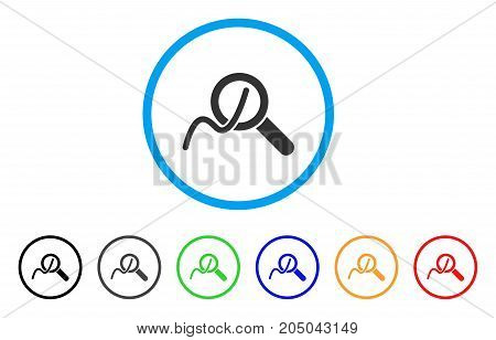 Explore Charts rounded icon. Style is a flat explore charts gray symbol inside light blue circle with black, gray, green, blue, red, orange versions. Vector designed for web and software interfaces.