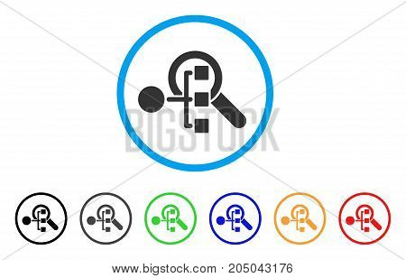 Explore Structure rounded icon. Style is a flat explore structure gray symbol inside light blue circle with black, gray, green, blue, red, orange variants.