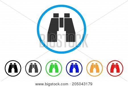 Find Binoculars rounded icon. Style is a flat find binoculars grey symbol inside light blue circle with black, gray, green, blue, red, orange variants. Vector designed for web and software interfaces.