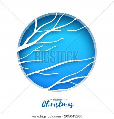 Merry Christmas Greeting Card. Birches branch in paper cut style. Origami Fall winter. Happy New Year holidays. Blue background. Template. Vector illustration.