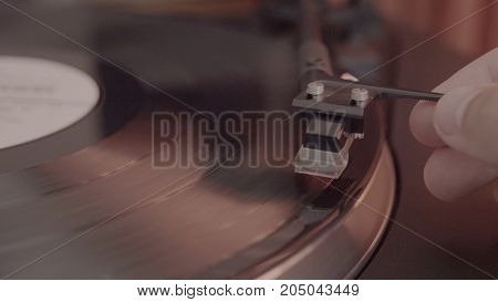 Sound Head In A Vinyl Player Close-up. Needle For Reading Sound From A Vinyl