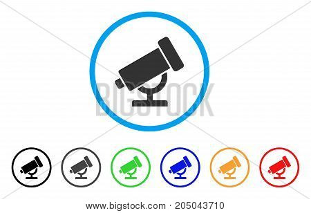 Telescope rounded icon. Style is a flat telescope gray symbol inside light blue circle with black, gray, green, blue, red, orange variants. Vector designed for web and software interfaces.