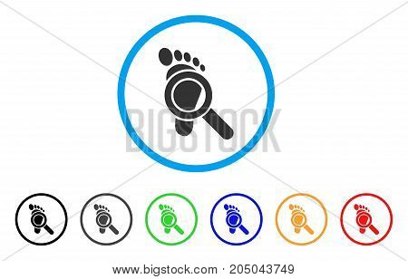 Trace Detective rounded icon. Style is a flat trace detective gray symbol inside light blue circle with black, gray, green, blue, red, orange versions. Vector designed for web and software interfaces.