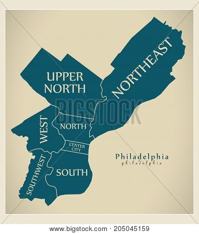 Modern City Map - Philadelphia City Of The Usa With Boroughs And Titles