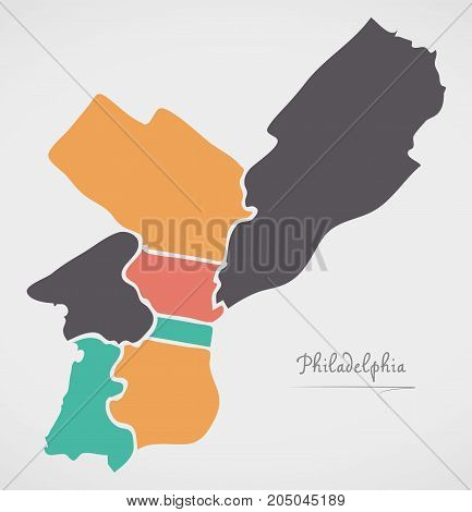 Philadelphia Map With Boroughs And Modern Round Shapes