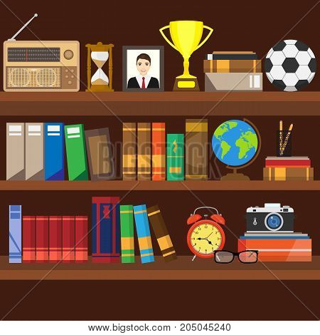 Book shelf. Bookstore indoor. Bookshelves with different books set. Home library interior. Reading and learning knowledge and education.isolated on background. Vector illustration.