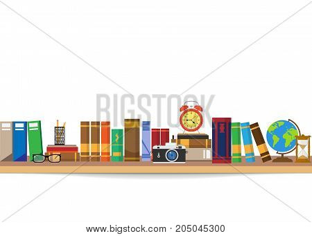 Book shelf. Bookstore indoor. Bookshelves with different books set. Home library interior. Reading and learning knowledge and education.isolated on white background. Vector illustration.