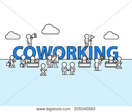 Coworking text work office with people. Vector illustration