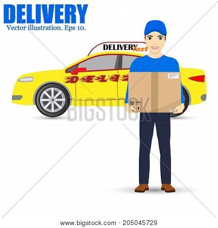 Delivery man and track. Service fast delivery. Delivery car. isolated on background. Vector illustration. Eps 10.