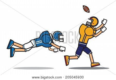 football player cartoon character. Rugby. American football. vector illustration.