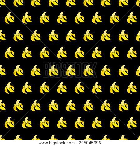 Seamless pattern with yellow bananas on black background. Cute vector background. Bright summer fruits illustration. Fruit mix design for fabric and decor. Funny wallpaper for textile and fabric.