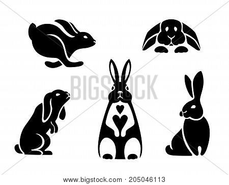 icons rabbits, logo hare sitting, running, jumping, standing on hind legs, snuggled to the floor, a rabbit with a heart on his chest