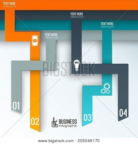 Teamwork business infographics with numbered tabs white icons and place for text on light background vector illustration