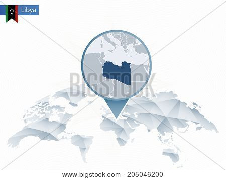 Abstract Rounded World Map With Pinned Detailed Libya Map.