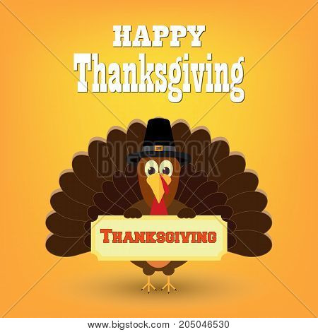 Colorful cartoon of turkey bird for Happy Thanksgiving celebration. Thanksgiving Turkey Bird Wearing A Pilgrim Hat Under Happy Thanksgiving Text. Vector illustration. Eps 10.