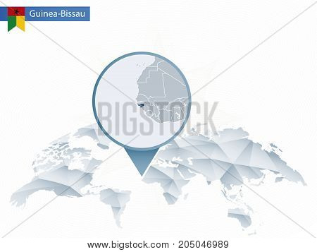 Abstract Rounded World Map With Pinned Detailed Guinea-bissau Map.