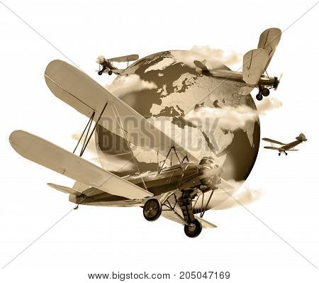 Biplanes flying around the planet Earth travel and transport concept sepia toned