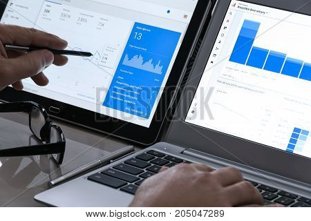 Krynica-Zdroj Poland - July 11 2017: Businessman using Google Analytics in the office on the touch screen of his tablet. Google Analytics is the most famous application for advanced web traffic analysis in the world